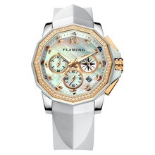 FLAMING FLAG Series High Quality 4 Models Miyota Quartz Watches Women Wristwatches with Shell Dial and white strap Dress Watch