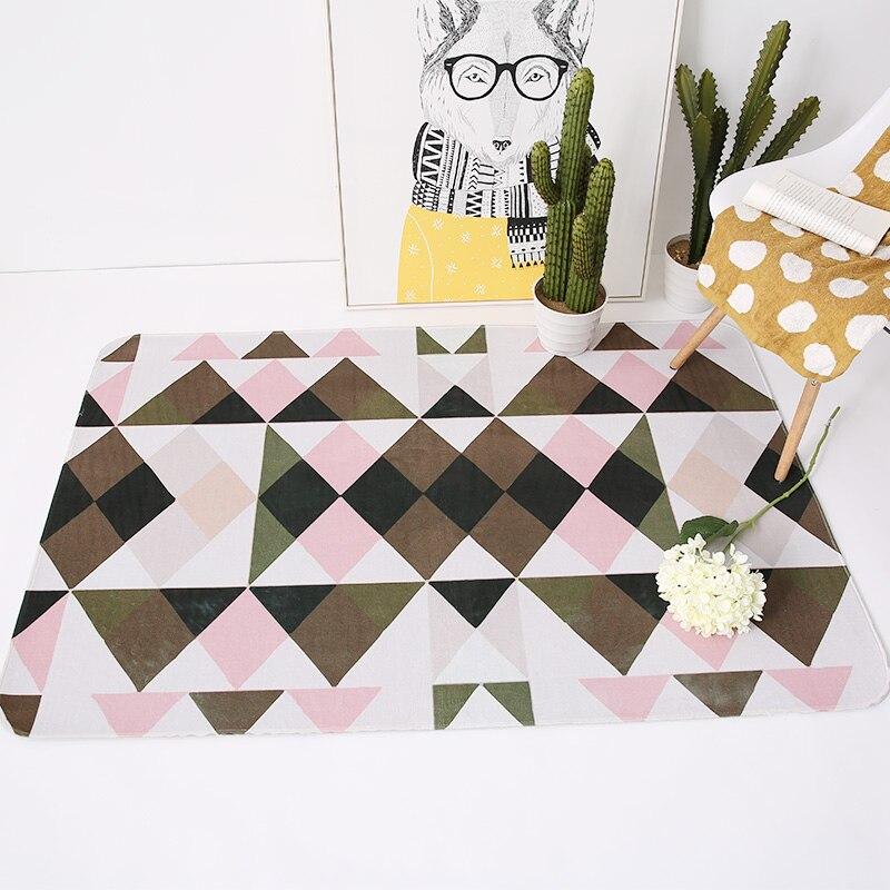 Moderne Simple géométrie gris/vert/rose tapis Design abstrait anti-dérapant lavable Durable tapis de zone doux et confortable