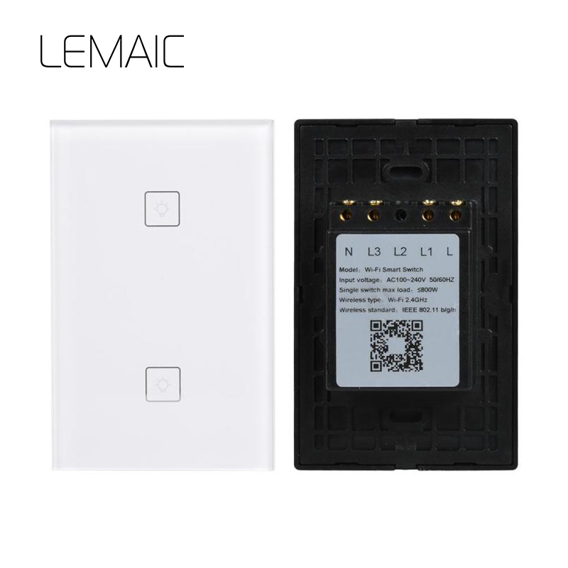 LEMAIC WiFi Smart Home Timing Voice Remote Control Switch Light Wall US 2 Gnag For APP Control Touch Switch Work With Alexa wireless wifi switch smart home automation module timer diy light wall switch app control work with amazon alexa voice control