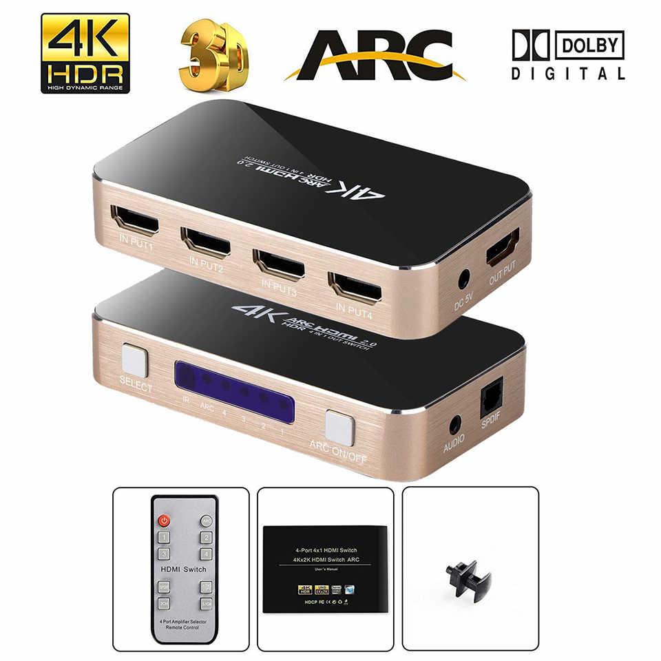 2019 Best 4K 60Hz HDMI Switch Remote Control 4 Port HDMI