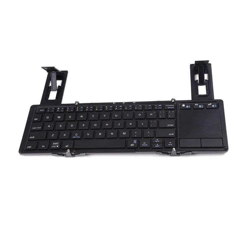 Pavé tactile Portable pliant clavier Bluetooth sans fil pour iPad tablette clavier Rechargeable deux fois plier clavier pour IOS Android