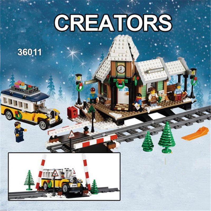 1010pcs Creator Winter Holiday Village Station 36011 Building Blocks Children Kids Christmas Toys Bricks Compatible With Legoing цена