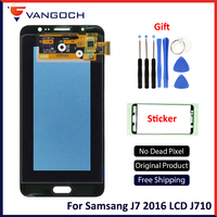 SUPER AMOLED For SAMSUNG Galaxy J7 2016 J710 J710FN J710M J710Y J710G LCD Digitizer Assembly Replacement with Bright Adjustment