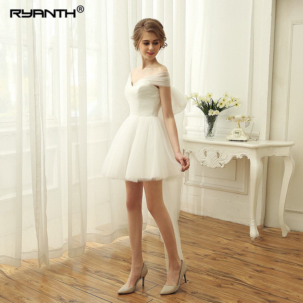 Robe de mariee Cute Short Mini Wedding Dress For Party 2019 New Ruched Off the Shoulder
