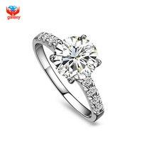 الكلاسيكية خاتم الذهب شغلها خواتم الزفاف للنساء فاخرة 9 ملليمتر 3ct cz YH032 sona الزركون خواتم الأزياء والمجوهرات