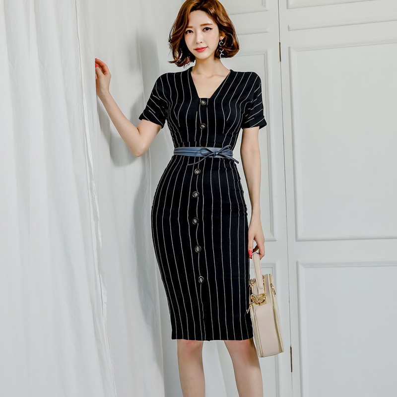 women 39 s summer stripe dress temperament wrap party dress v neck single breasted package hip fashion office with belt sexy dress in Dresses from Women 39 s Clothing