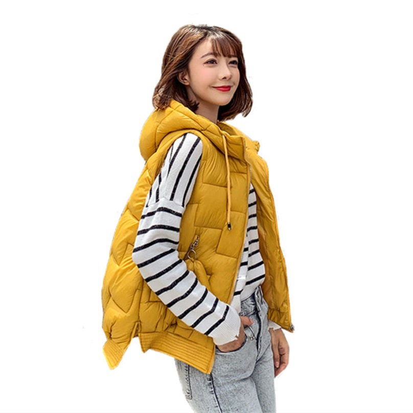Autumn Winter Sleeveless Jacket Women Coats Cotton Ladies Down Vest Female Hooded Slim Vests