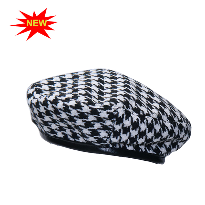New autumn winter Plaid Beret Hats For Women French Berets Fashion Female Houndstooth Berets Black Berets With Adjustable Rope