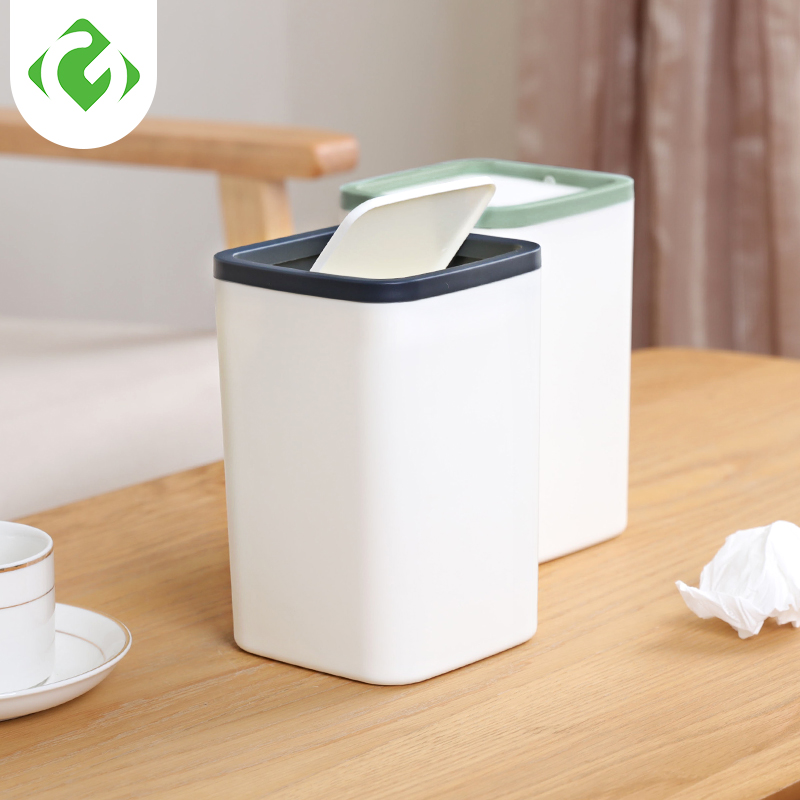 Small Waste Bins Creativity Coffee cup shape Plastic trash can Rolling Cover