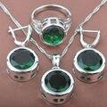 Rodada Pedra Semi-preciosa Verde das Mulheres Conjuntos de Jóias Colar de Pingente de Cor Prata Carimbado Anéis Brincos Frete Grátis TS010