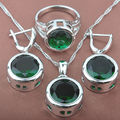 Round Green Semi-precious Stone Women's Stamped  Silver Color Jewelry Sets Necklace Pendant Earrings Rings Free Shipping TS010