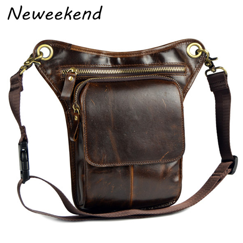 купить NEWEEKEND Men's Cowhide Geunine Leather Travel Motorcycle Messenger Shoulder Hip Belt Fanny Pack Waist Drop Leg Bag LZ-55447 недорого