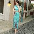 TIC-TEC women cheongsam long qipao chinese traditional dress oriental dresses flower print vintage evening elegant clothes P2948