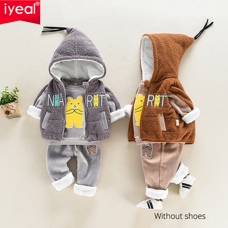 IYEAL Baby Boy Clothes Set Kids Clothing Set Winter Warm Children Clothing 3PCS Cartoon Hooded Vest + Thicken Tops + Pants 1-4T iyeal fashion baby boys clothes set cotton long sleeve tops vest pants 3 pieces suit for kids boy children clothing 1 4 years