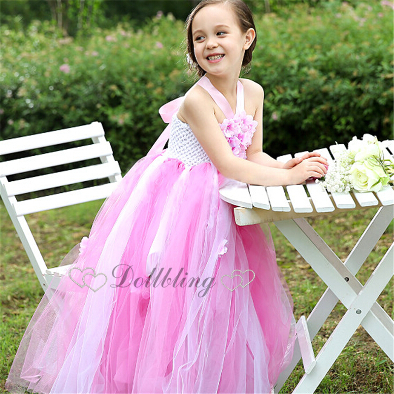 Ellie's Bridal Blush Pink Peach blossom Fairy Girl Dress Posh Gorgeous little maid honor dress 2-10 years old d1025 savannah bee company natural and organic peach blossom shimmer lip tint 0 09 ounce