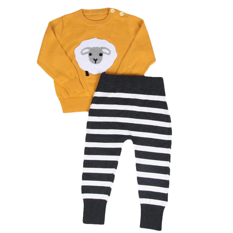 Kids Clothing Sets 2016 New INS Hot Sheep Embroidery Knitted Sweater Sets Yellow Pullovers Black White Striped Pants 12M-5Y CS21 studio m new women medium m gray purple striped sharkbite tunic sweater $78 065