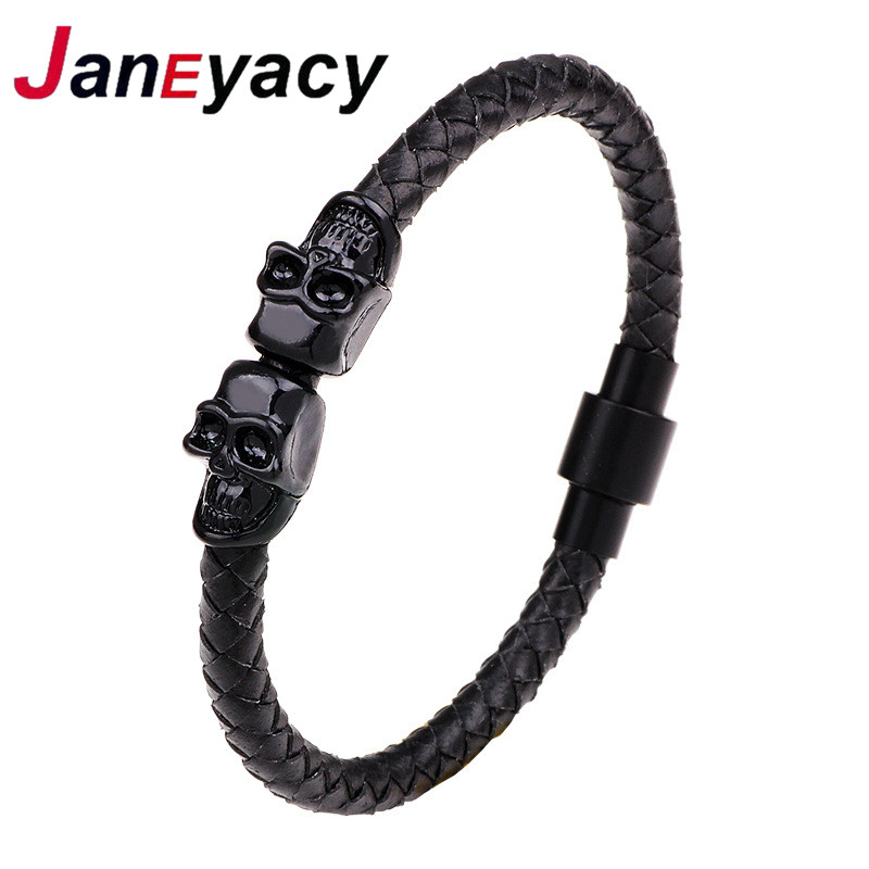HOT Punk Black Leather Bracelets for Women Jewelry Vintage Skull Head Charm Bracelets & Men Bangles Magnetic Buckle Simple