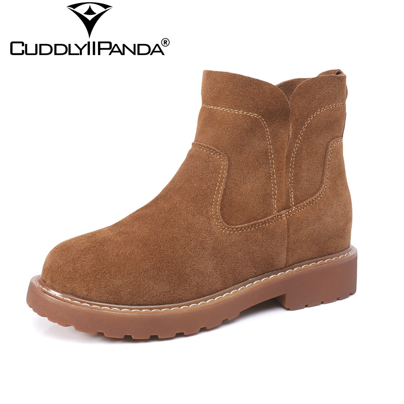CuddlyIIPanda 2018 Autumn Winter Chelsea Boots Vintage Cow Suede Women Martin Boots Retro Plush Nubuck Leather Ankle Boots Botas winter autumn chelsea ankle boots women