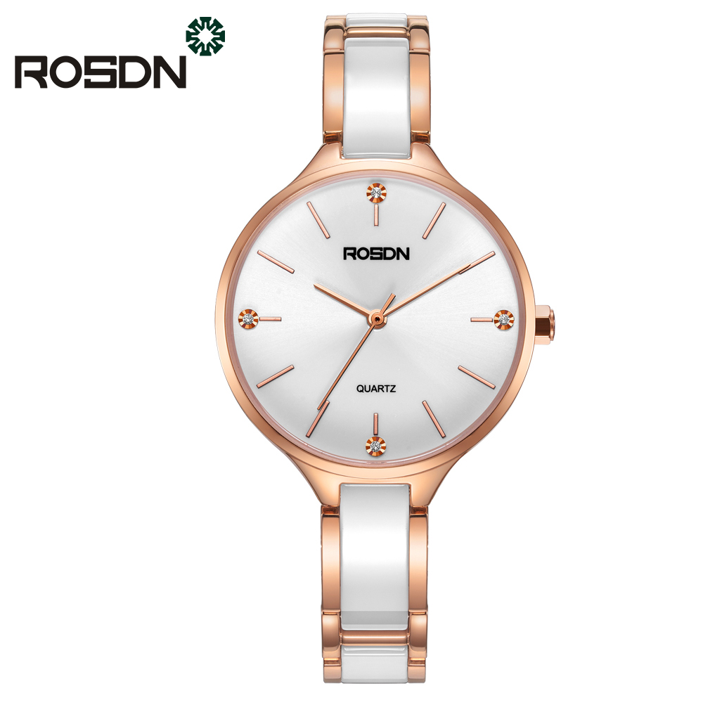 ROSDN Brand Watches for Women Luxury Rose Gold Ceramic Quartz Watches Waterproof Ladies Wrist Watch Bracelet gift set
