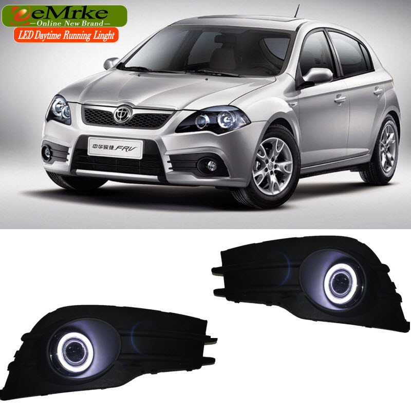 EEMRKE For Brilliance BS2 FRV 2010 LED Angel Eye DRL Daytime Running Light H11 55W Halogen Yellow Fog Lights Lamp eemrke for fiat freemont led angel eye drl daytime running lights halogen h11 55w fog lamp light