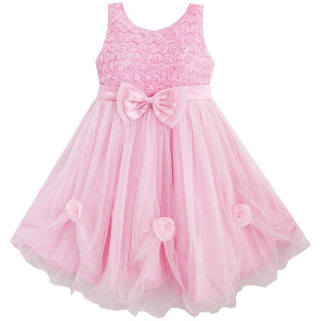 8f60c3527 Sunny Fashion ملابس أطفال بنات وردي ارتفع مسابقة قماش رقيق شفاف زفاف أطفال