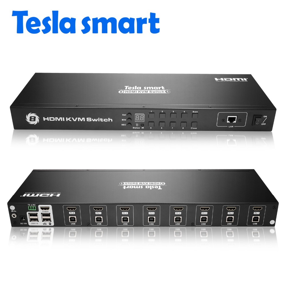 Tesla smart 2018 KVM USB HDMI Commutateur 8 Port KVM HDMI Switcher KVM Commutateur HDMI Soutien 3840*2160/4 K 2 Pcs Oreilles de Rack Standard 1U