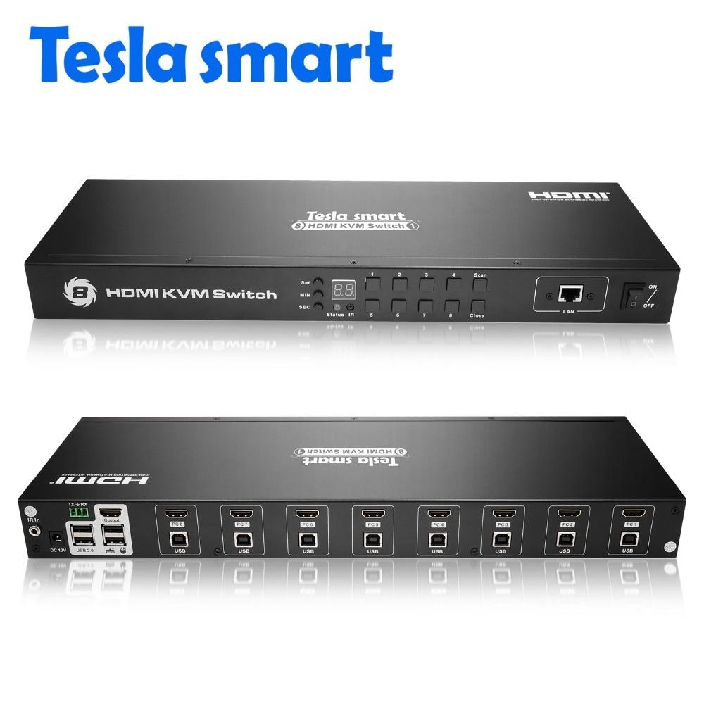 Tesla smart 2019 KVM USB HDMI Commutateur 8 Port KVM HDMI Switcher KVM Commutateur HDMI Soutien 3840*2160/ 4 K 2 Pcs Oreilles de Rack Standard 1U