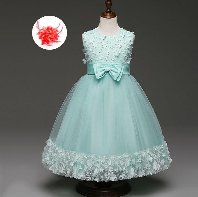 Online Shop Mint Green Burgundy Peach Flower Applique Girl Dresses ...
