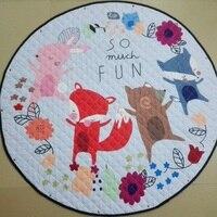 Multi Function Baby Lovely Animals Fox Giraffe Raccoon Pattern Play Mats As Buggy Bag Crawling Rug