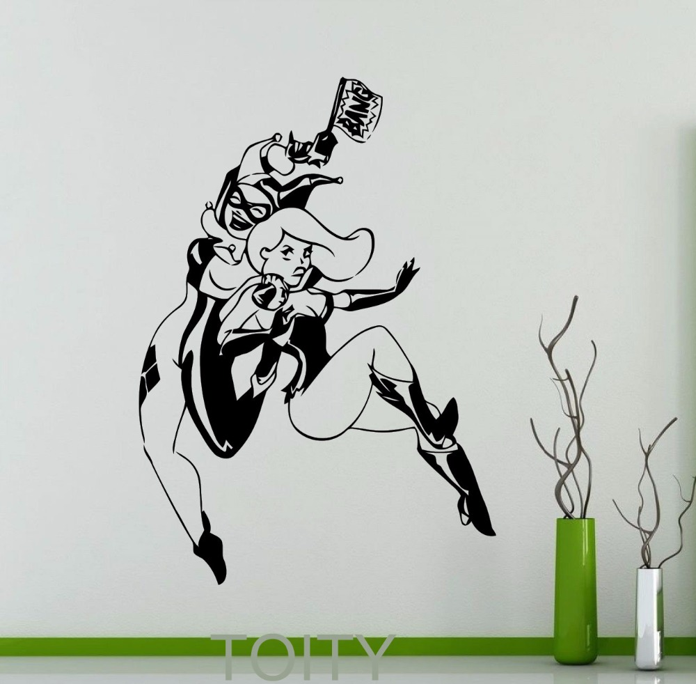 Bike stickers design joker - Harley Quinn And Poison Ivy Wall Sticker Nursery Comics Superhero Poster Vinyl Decal Dorm Club Home