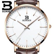 Швейцария BINGER мужчины часы люксовый бренд ультратонкий ограниченным тиражом Водонепроницаемый любителей кварцевые Наручные Часы B-3050M-8