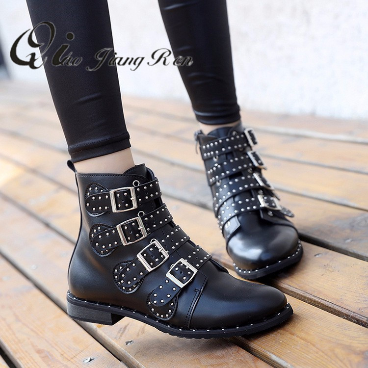 Rivets Faux Leather Booties Buckle
