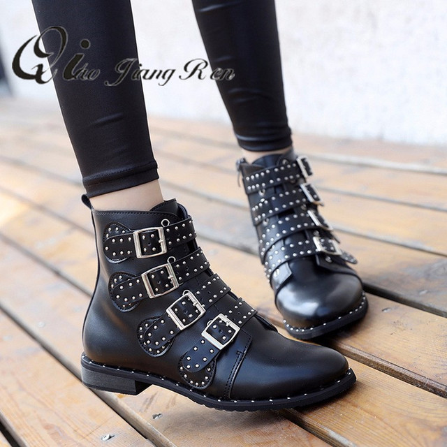 fc54d1a07 € 16.61 20% de réduction|Rivets simili cuir chaussons boucle sangles talon  épais noir cheville femmes bottes clouté décoré femme bottes moto ...