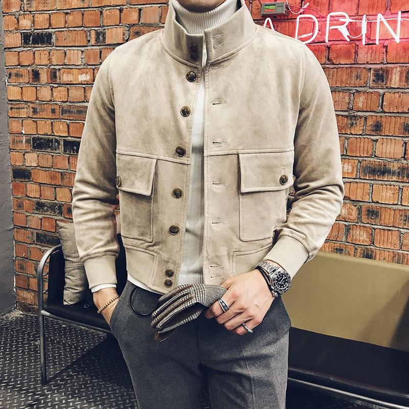 2017 Stand Collar Jackets Mens Khaki <font><b>Bomber</b></font> Jackets Mens Autumn jackets Bitish Style Social Coat Slim Fit <font><b>Black</b></font> Club Outfits