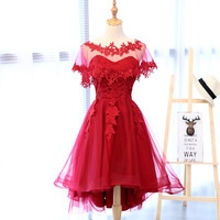 Real Photo In Stok Red Lace Sweetheart With Veil Asymmetrical Off The Shoulder Tea Length Evening