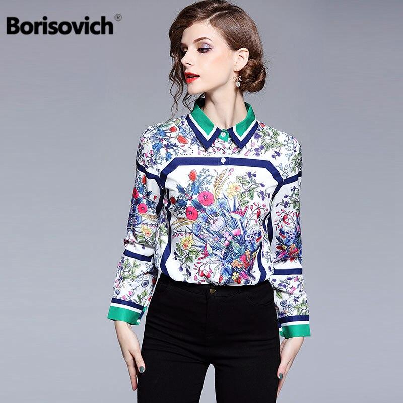 Borisovich High Quality Vintage Print Female   Shirt   New Brand 2018 Autumn Turn-down Collar Elegant Women   Blouses     Shirts   M759