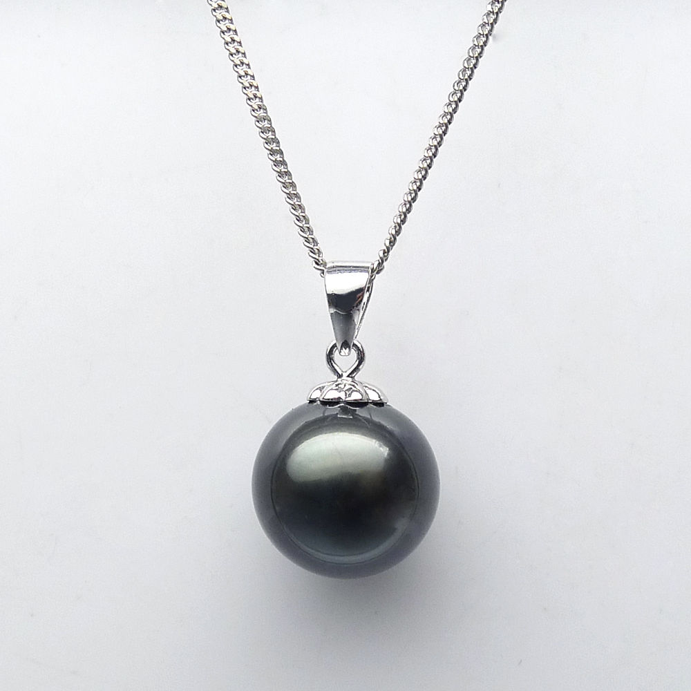 free shipping 11.2mm Natural Black Genuine Tahitian Pearl Pendant 925 Sterling Silverfree shipping 11.2mm Natural Black Genuine Tahitian Pearl Pendant 925 Sterling Silver