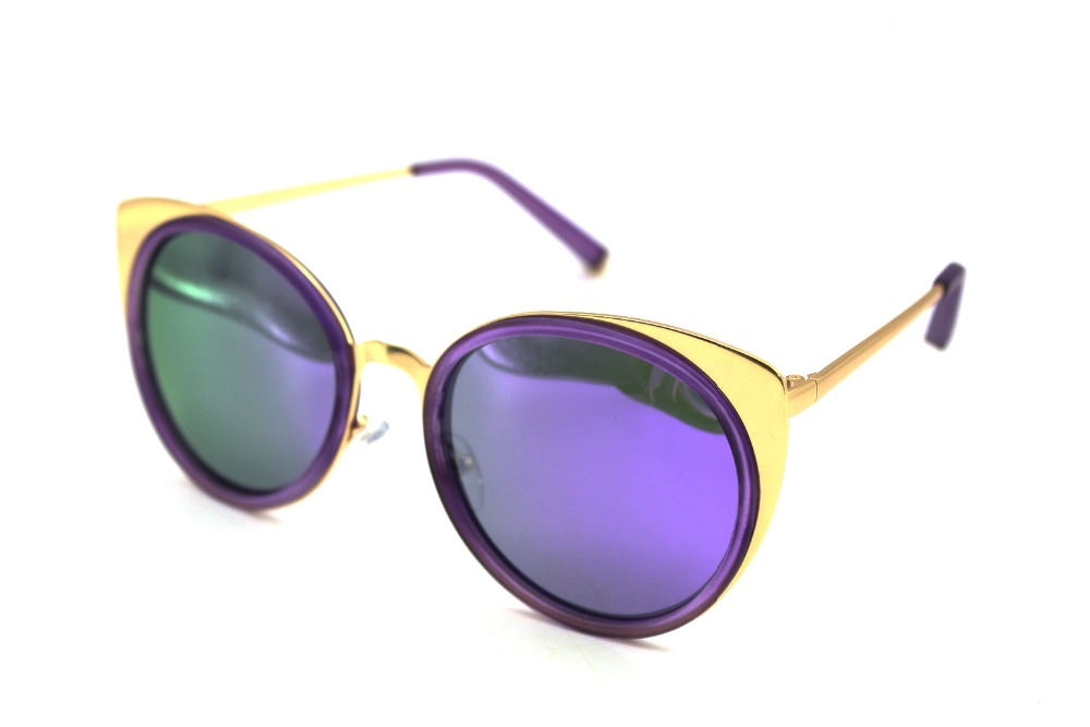 Cat Eye Polarized Sunglasses Purple Lenses Colorfu...