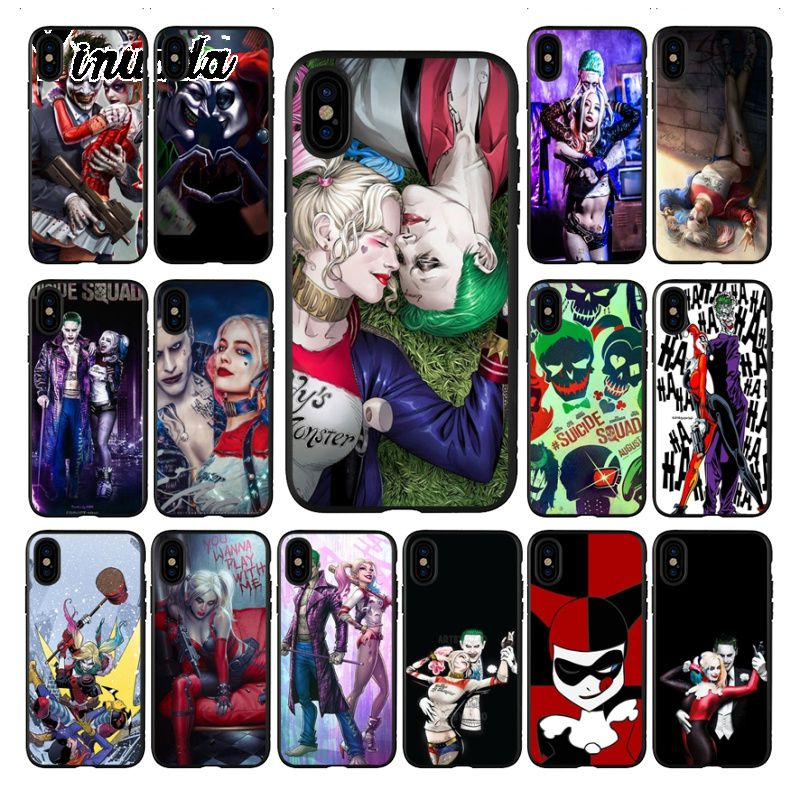 Yinuoda Suicide Squad Joker Harley Quinn Painted Phone Accessories Case for iphone 8 7 6 6S Plus 5 5S SE XR X XS MAX Coque Shell