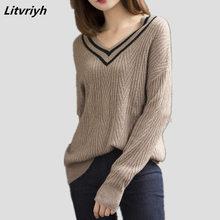 купить Litvriyh sexy V-neck lady knit sweater women sweaters and pullover long sleeve loose women pullover female knitted 18 new jumper по цене 2074.11 рублей