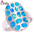 CiNily Created Blue Fire Opal Silver Plated Ring Wholesale Retail Fashion Party for Women Jewelry Ring Size 6 7 8 9 OJ8139