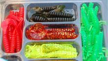 35pcs lure +10 pcs hooks /set Fishing Lure Lead head Jig Head Hooks Grub Worm Soft Baits Shads Silicone fishing tackle Set