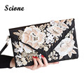 Luxurious Handmade Flower Embroidered Evening Bag Women Black Handbag for Party Bridal Wedding Clutch Purse Envelope Bags JXY658