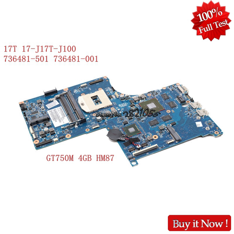 NOKOTION Laptop Motherboard 736481-501 736481-001 For Hp Envy 17T 17-J 17T-J100 HM87 DDR3L GT750M 4GB Video Card Full Tested