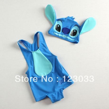 Blue Stitch piece swimsuit child baby girls boys swimwear kids children - jianbing wang's store