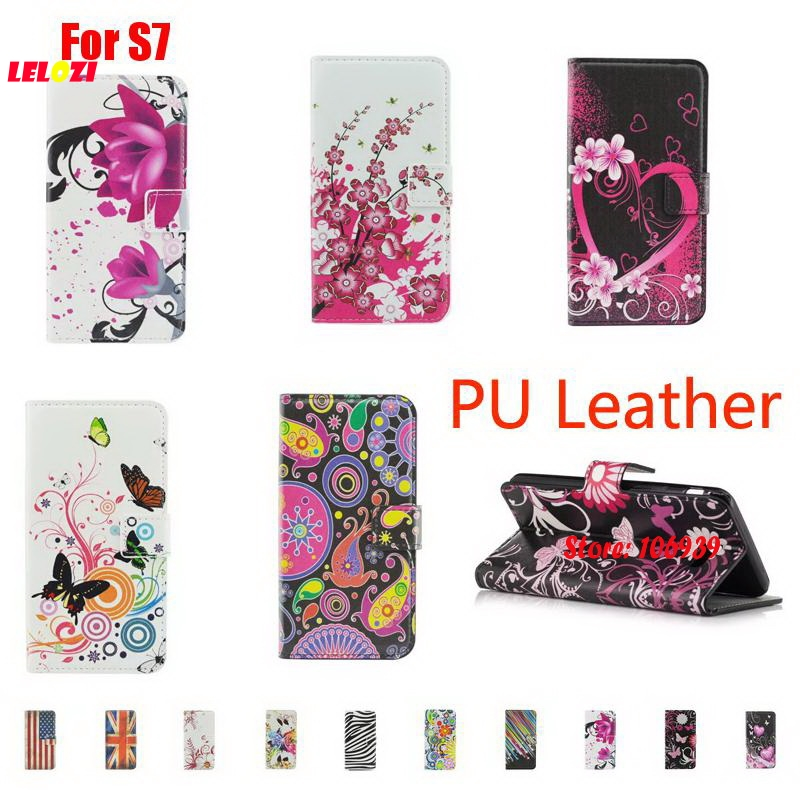 LELOZI Abstract Cute Painted PU Leather Wallet Women Case For Samsung Galaxy S7 SM G930 Sunflower Meteor Star Butterfly