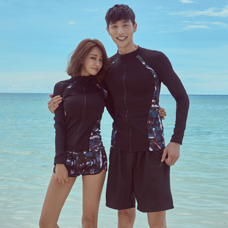 Surf Swimwear Couples Patchwork Cropped Print Rash Guard Women Men Swim Shirt Long Sleeves Swimsuit Surfing