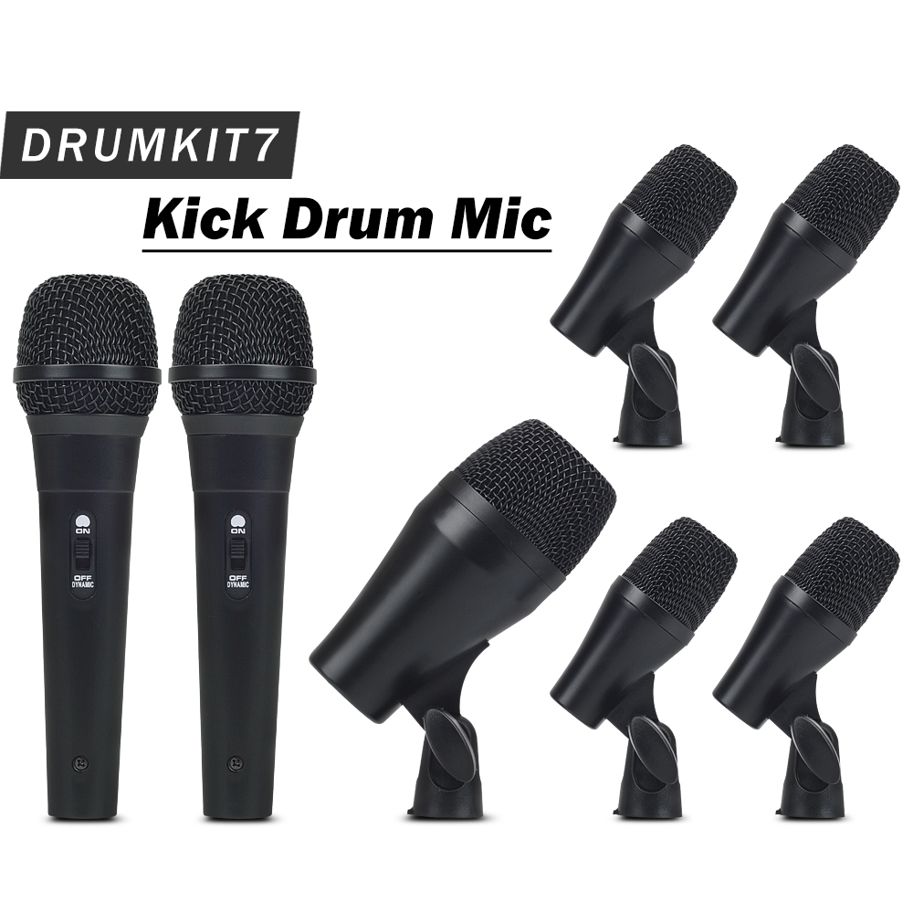 High Quality Professional Percussion Drums Guitar Brass PGA DrumKit7 Instrument Microphone Mic System with Carrying Case