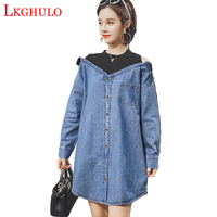 XL 5XL Spring New Fashion Ladies Casual Fake two pieces Patchwork Long Sleeve Loose Jeans Dresses 2018 Denim Dress Plus SizeA345