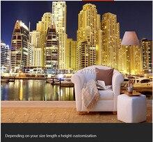 Custom 3D stereoscopic wallpaper Dubai Burj Al Arab Hotel Night parlor room TV backdrop for home decor vinyl wallpaper